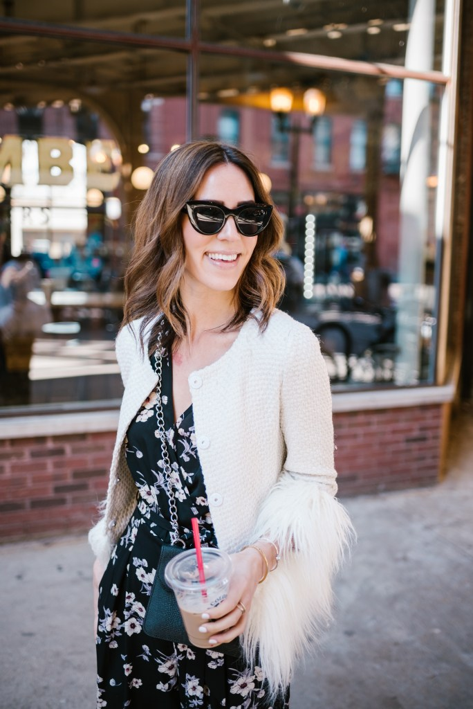 Blogger Mary Krosnjar wearing Quay Cat Eye Sunglasses and Floral Jumpsuit for Spring
