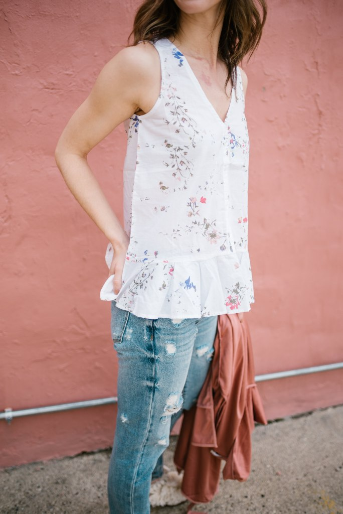 Lilla P Peplum top and Blank NYC distressed denim