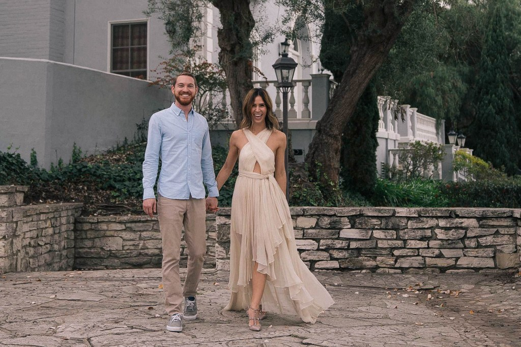 Blogger Mary Krosnjar engagement photos wearing Nasty Gal Maxi Dress