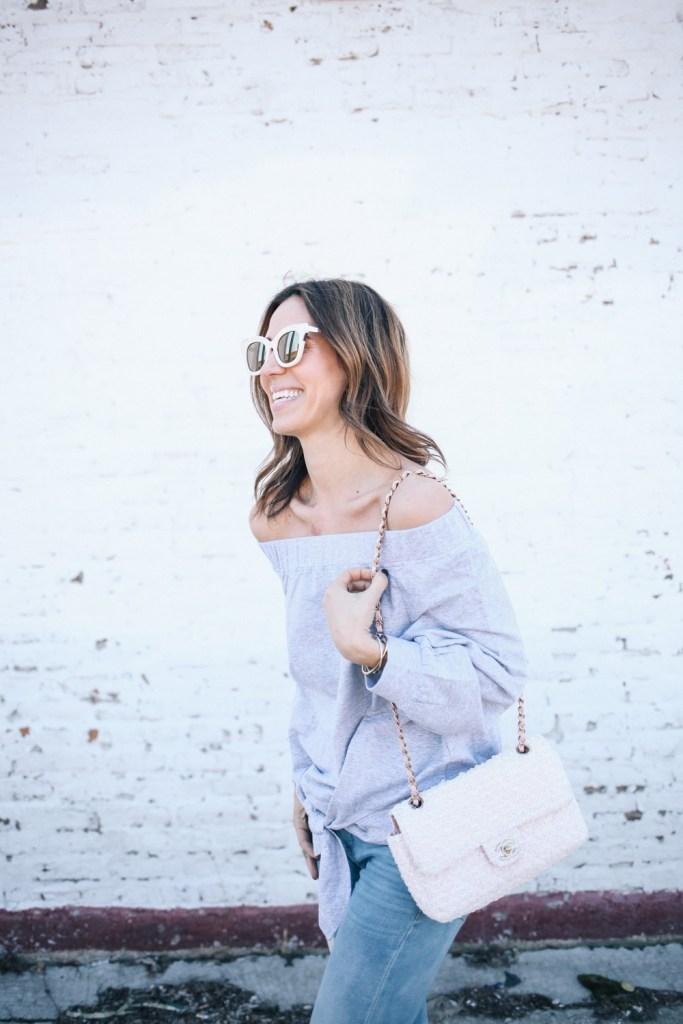 Blogger Mary Krosnjar Ily Off the Shoulder Tie Sweatshirt and Blank NYC denim