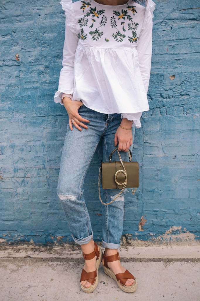 Blogger Mary Krosnjar wearing White Embroidery Ruffle Trim Pleated Blouse and Sole Society espadrilles