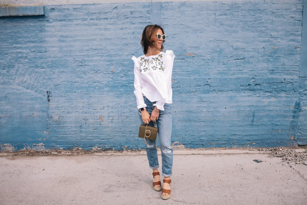Blogger Mary Krosnjar wearing H&M distressed denim, embroidered top and sole society espadrilles