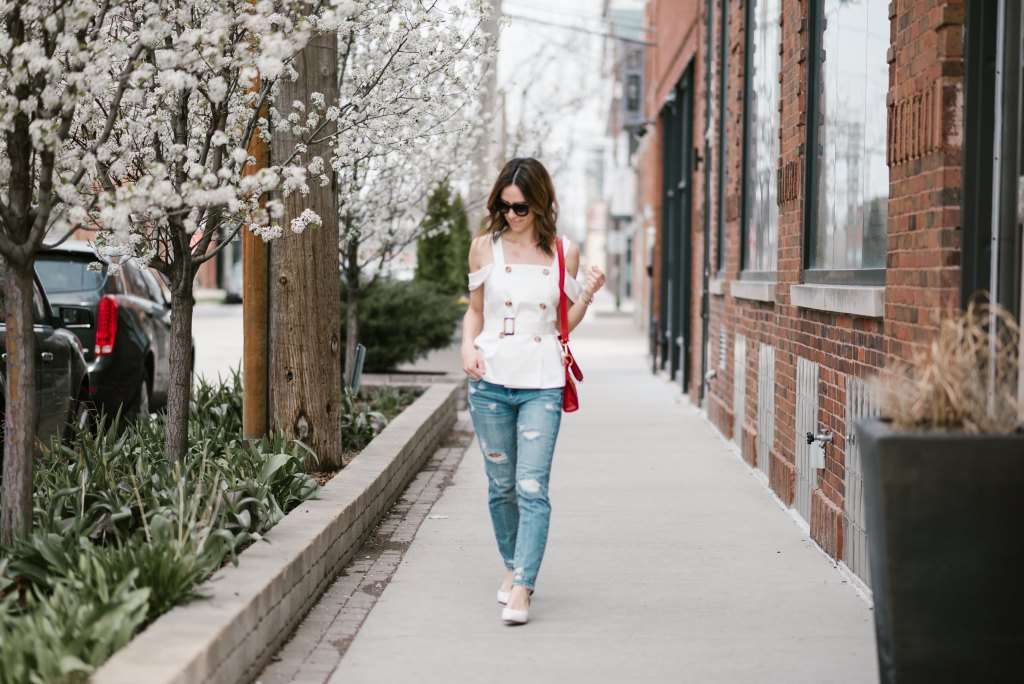 Blogger Mary Krosnjar wearing Spring Fling with CMeo Collective and Blank NYC Denim