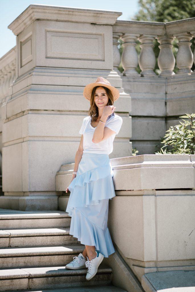Chelsea Ruffle Midi Skirt and Sole Society Straw Hat