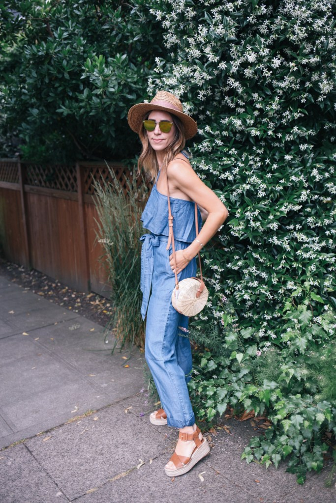 Chambray Halter Top Jumpsuit and Sole Society Straw Hat