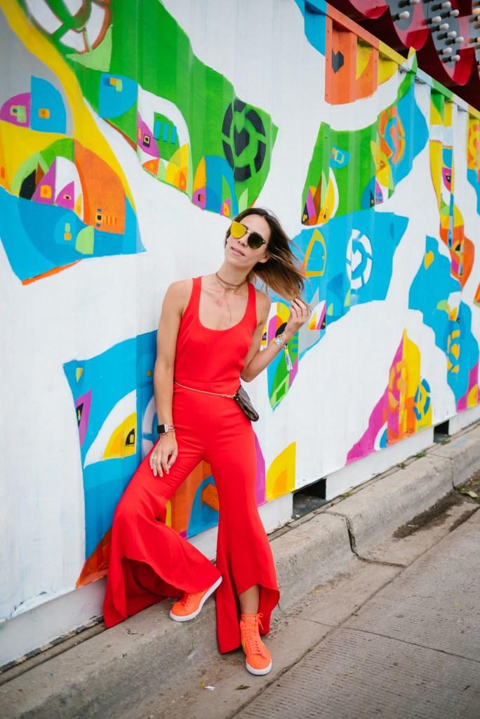Blogger Mary Krosnjar wearing Gabrielle Ruffle Pant Jumpsuit
