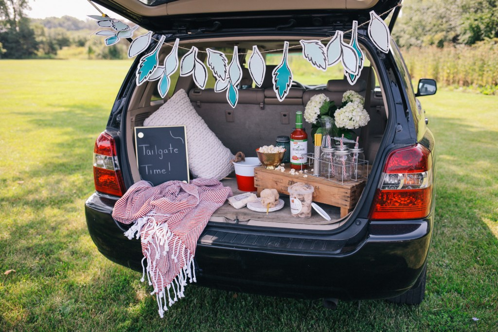 Blogger Mary Krosnjar building a DIY tailgate with Marshalls