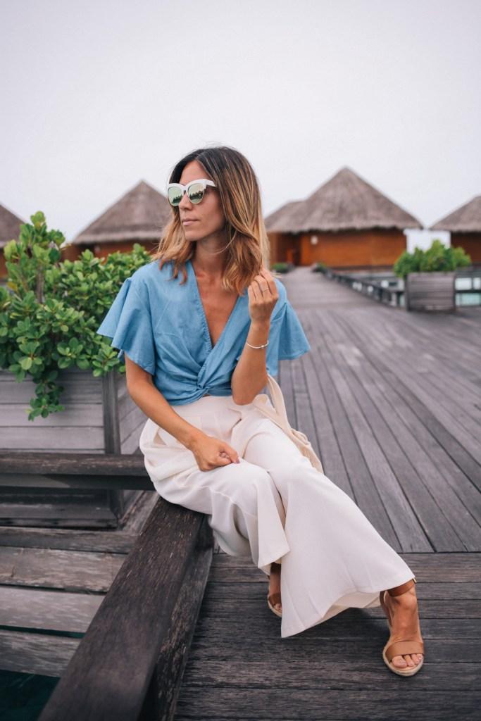 Blogger Mary Krosnjar at Baros Resort in Maldives wearing ASOS Wide Leg Pant