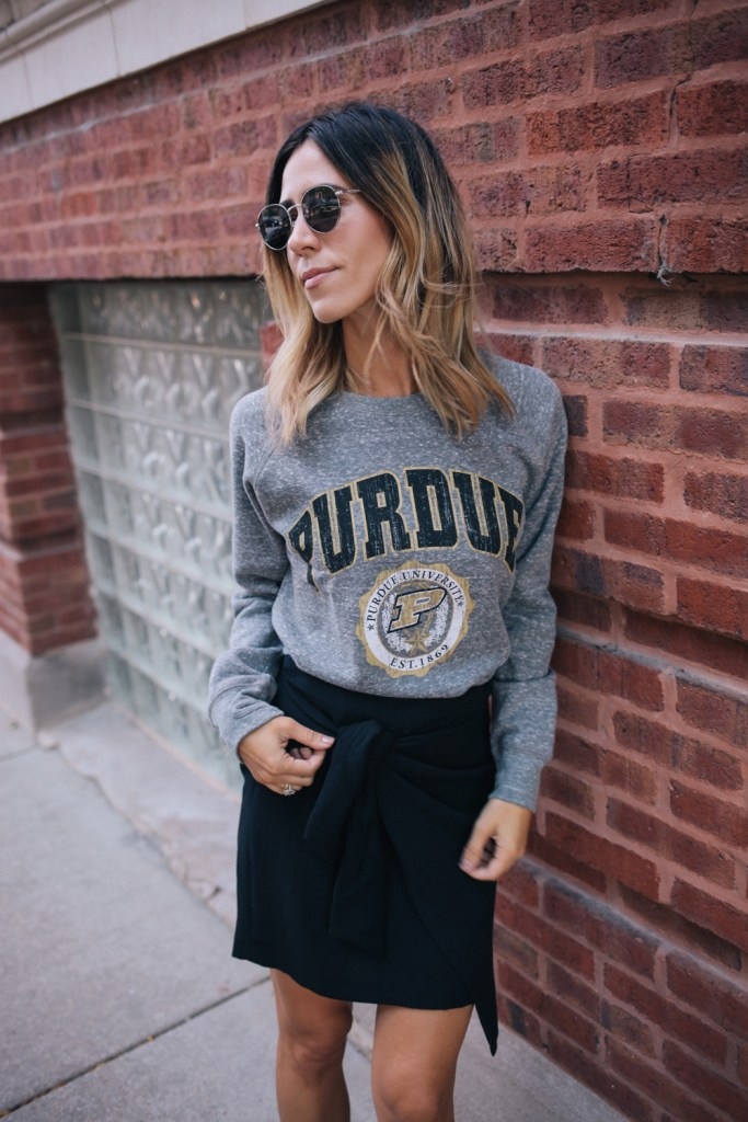 Purdue Boilermakers Vintage Pullover with Who What Wear wrap tie skirt