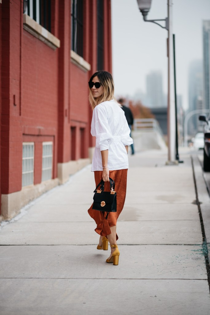 Rust Satin Skirt and Chicago Fashion Blogger
