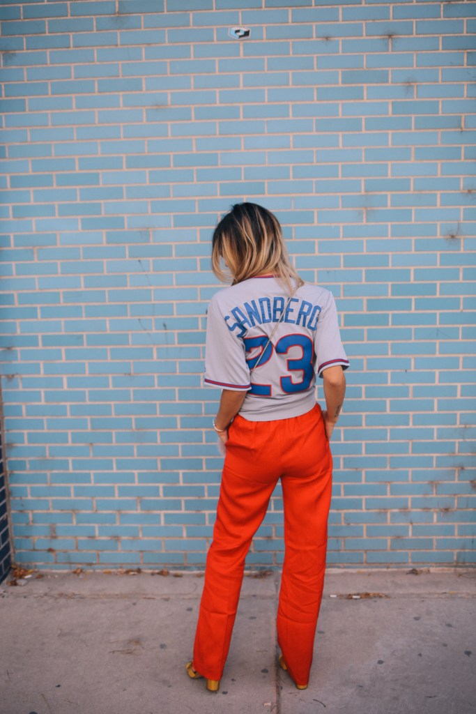 Blogger Mary Krosnjar and Ryne Sandberg jersey