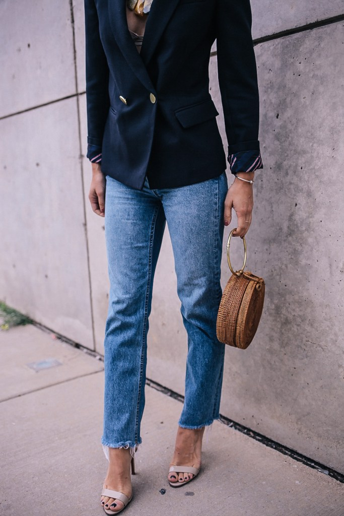 H&M Mom jeans styled with Schutz Shoes Casey Sandals