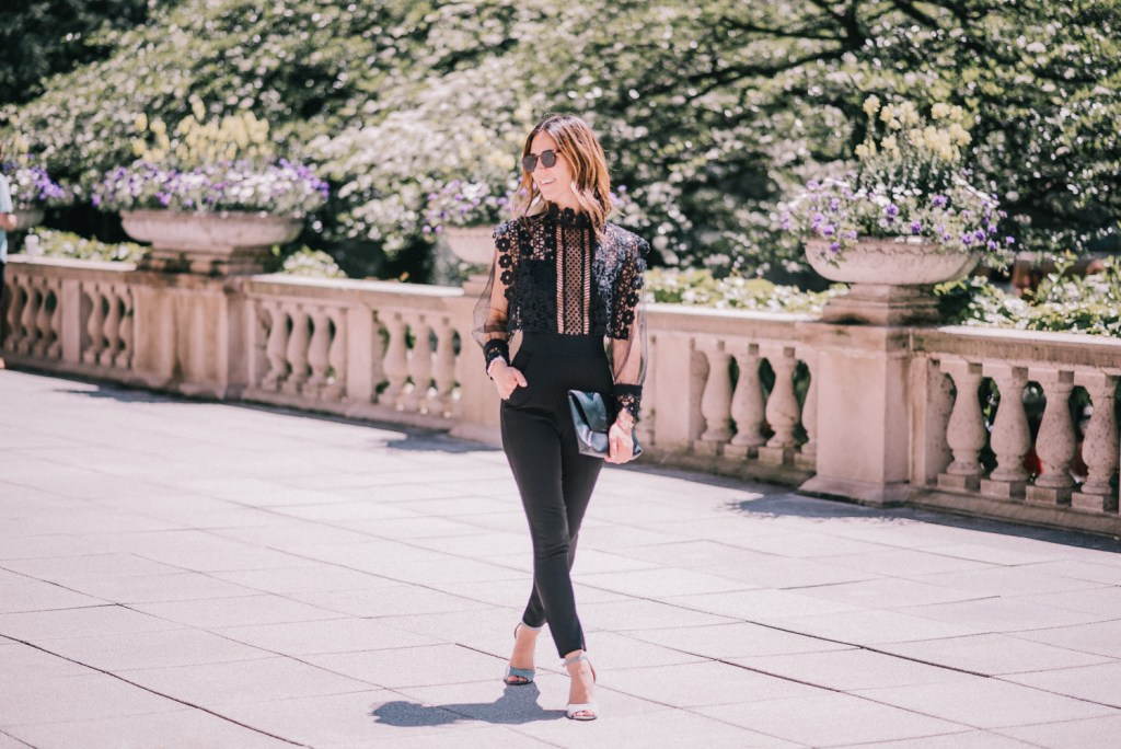 Blogger Mary Krosnjar wearing Lace Crochet Jumpsuit under $50