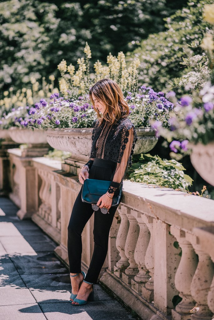 Blogger Mary Krosnjar at the Chicago Art Institute wearing Lace Crochet Jumpsuit