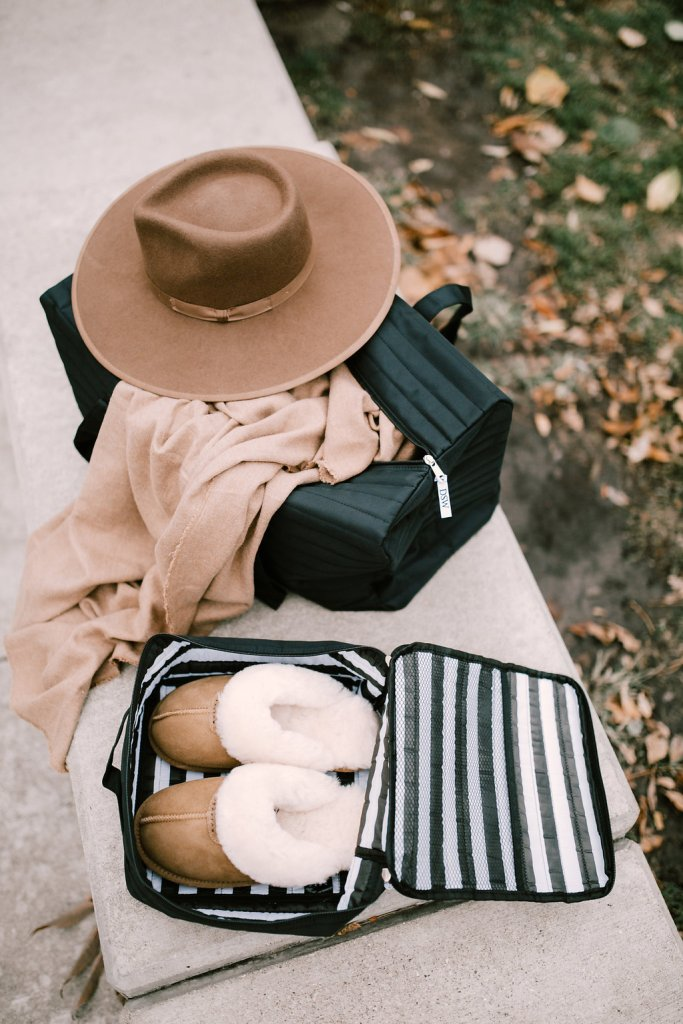 Free DSW Weekender and Shoe Bag, Brixton Full Brim Hat, Zara Blanket Scarf