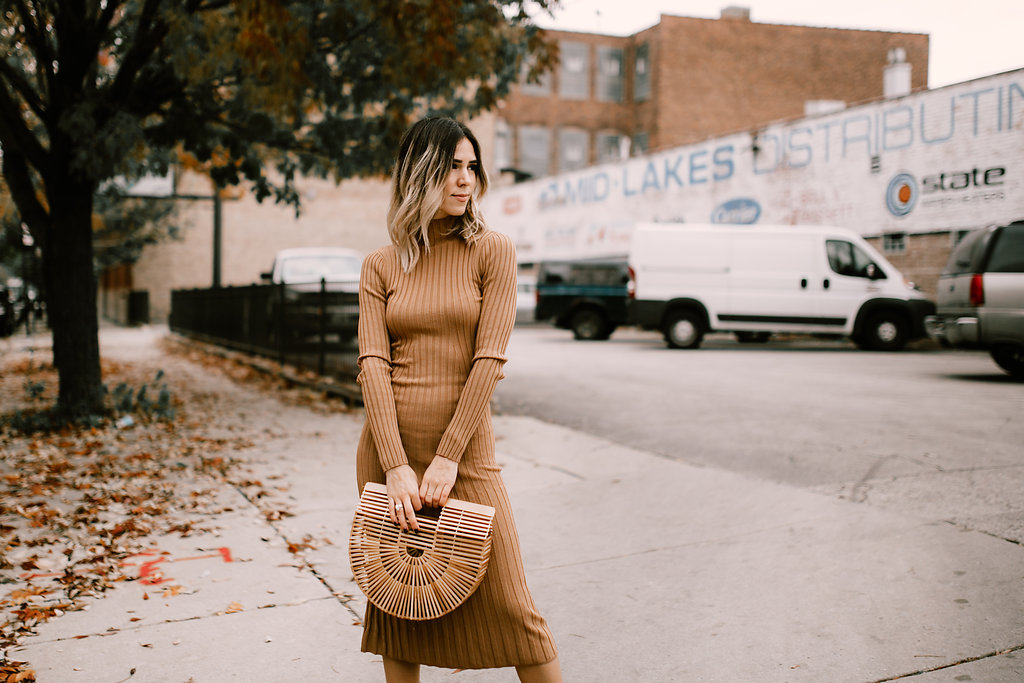 Blogger Mary Krosnjar wearing Tan Knit Dress with Bamboo Cult Gaia Bag