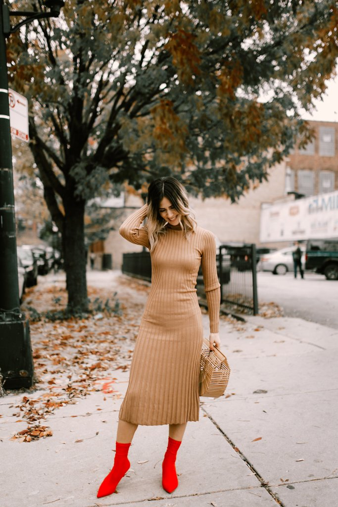 H&M Tan Knit Dress and H&M Red ankle booties