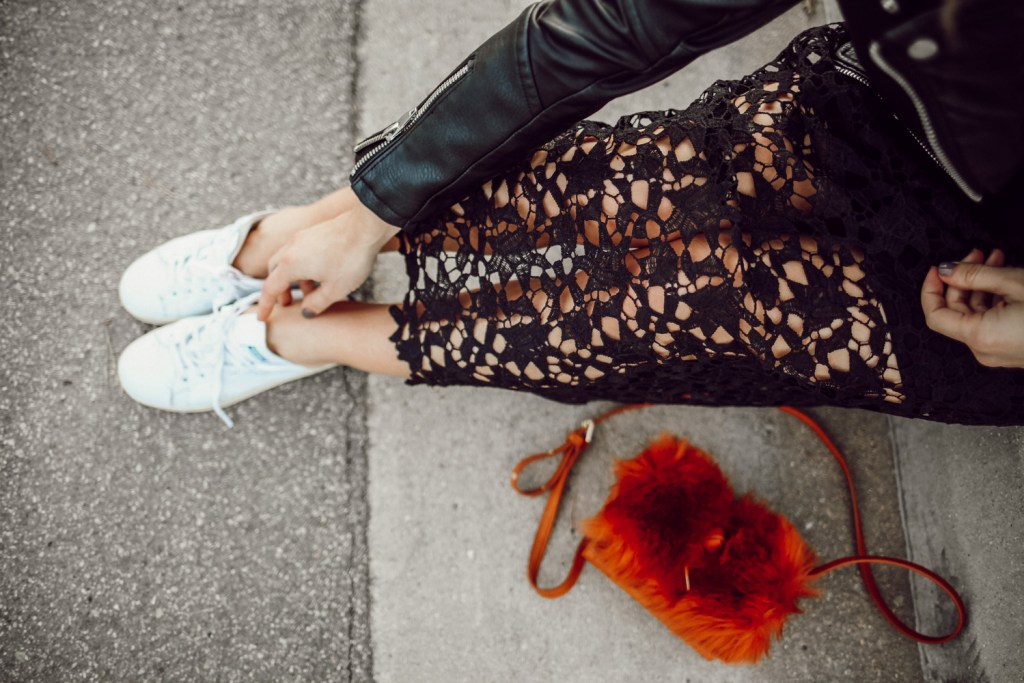 Blogger Mary Krosnjar wearing ASTR Lace Midi Dress and Stan Smith Adidas