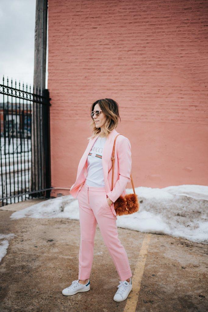 Blogger Mary Krosnjar wearing Pink Blazer and Matching Pants