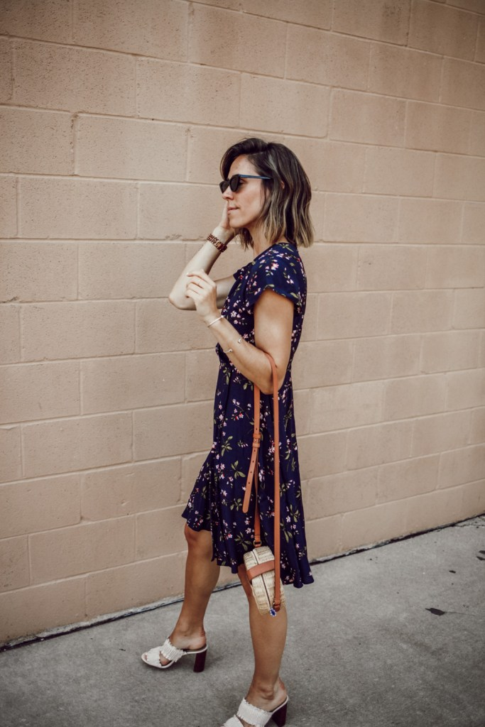 Blogger Mary Krosnjar wearing Floral Ruffle Wrap Dress and Ruffle Block Heel Sandals