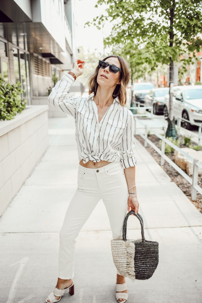 Blogger Mary Krosnjar wearing Ann Taylor Striped Camp Shirt and Raw Hem denim
