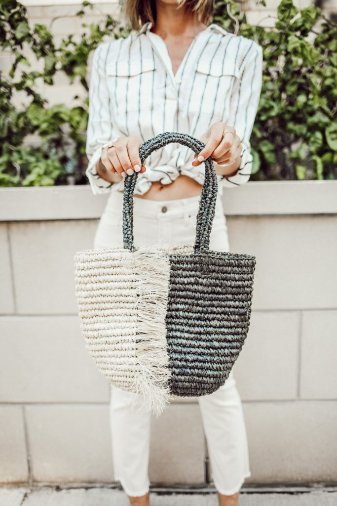 Blogger Mary Krosnjar wearing Ann Taylor Fringe Straw Bag