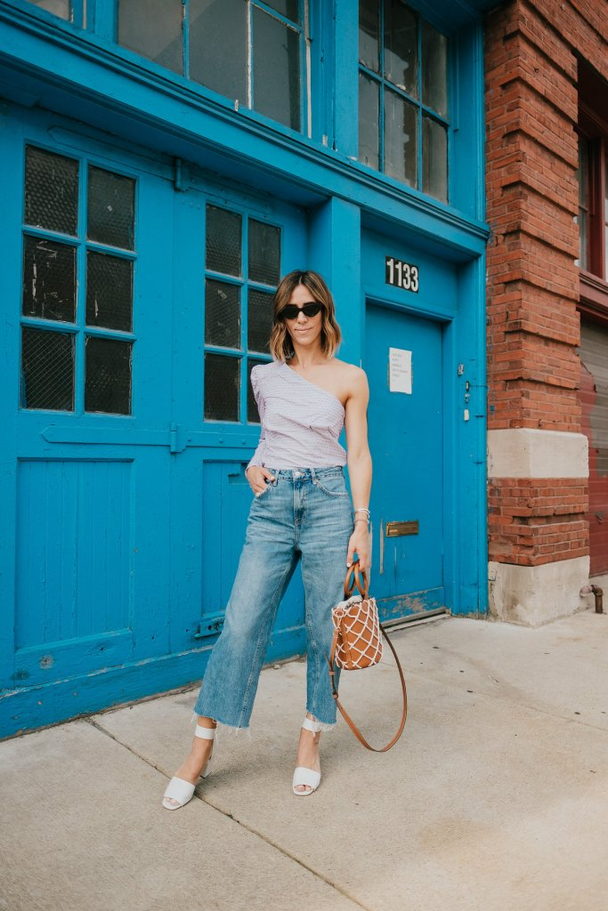 Blogger Mary Krosnjar wearing Who What Wear One Shoulder Top and Mango Net Bag