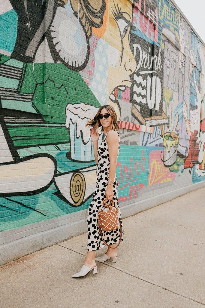 Blogger Mary Krosnjar wearing Who What Wear Polka Dot Sleeveless Ruffle Dress