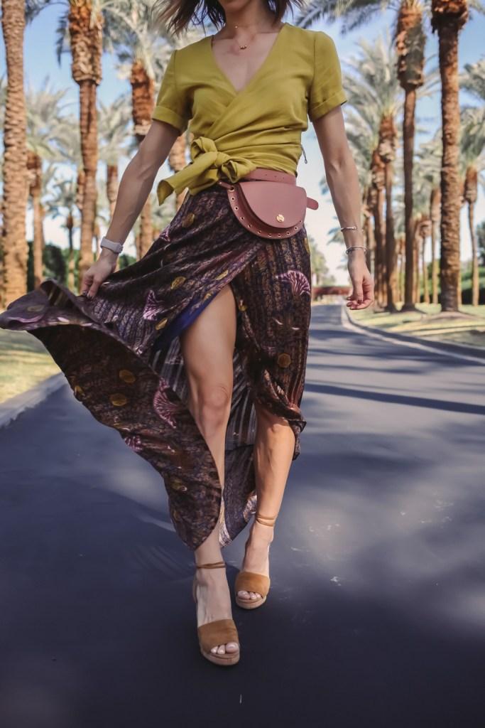 Blogger Mary Krosnjar wearing BA&SH Delva Maxi Skirt and Valentino Cork Heels