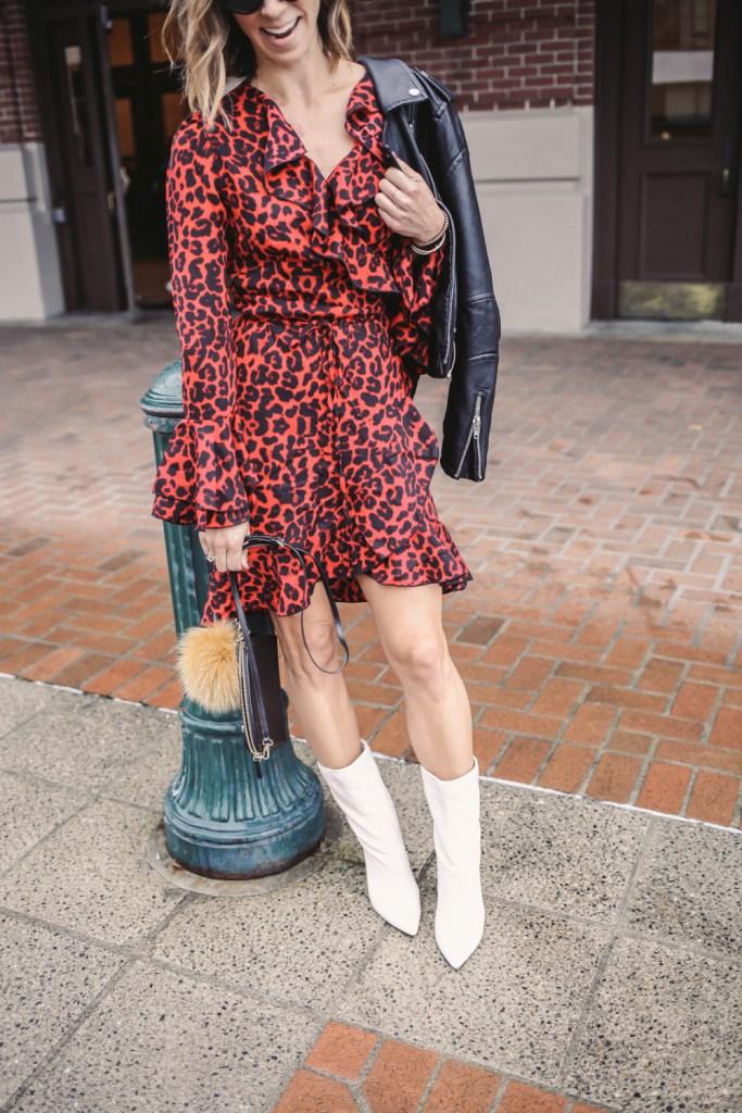 Blogger Mary Krosnjar wearing Leopard Print Ruffle Trim Wrap Dress and White Mid Calf Boots