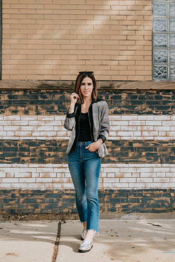 Blogger Mary Krosnjar wearing Plaid Hooded Layered Blazer Jacket