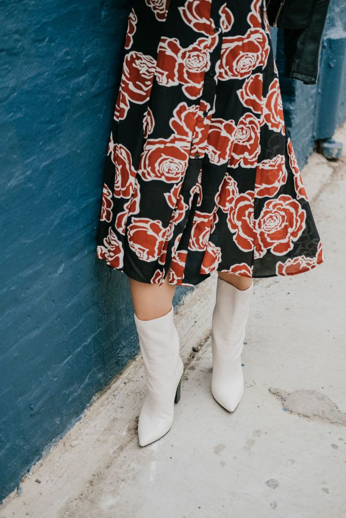 Blogger Mary Krosnjar wearing Who What Wear Floral Midi Dress with Dolce Vita White Calf Boots