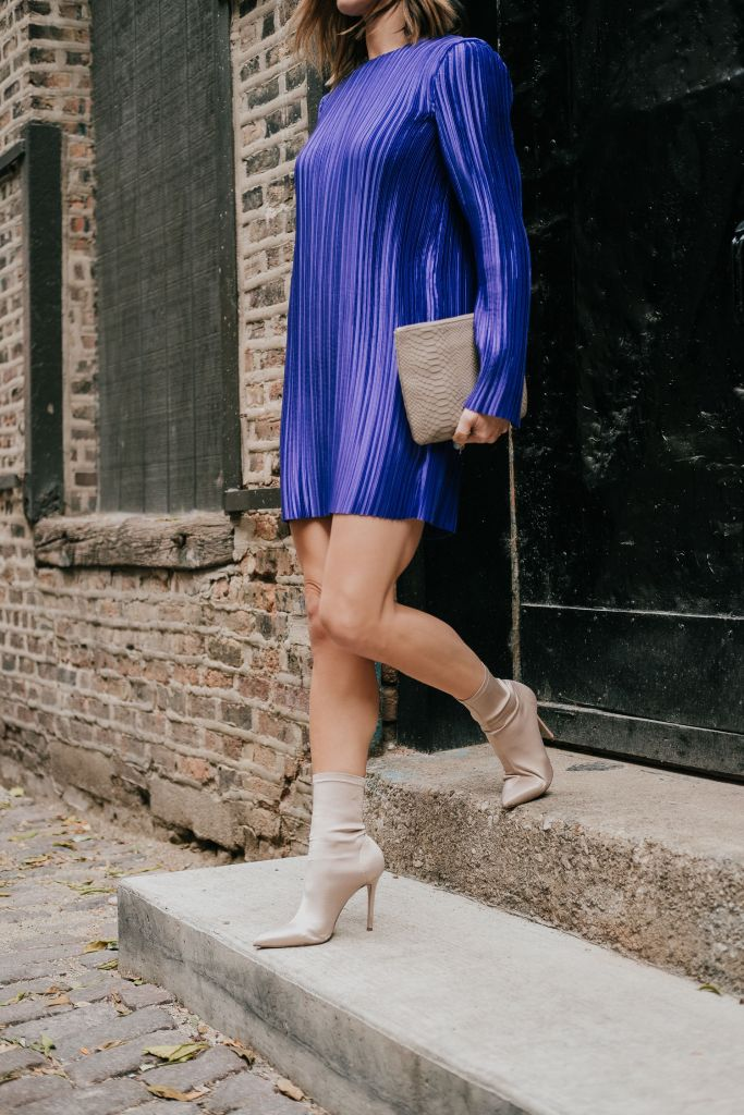 Blogger Mary Krosnjar Tibi Mini Dress and Tony Bianco Booties