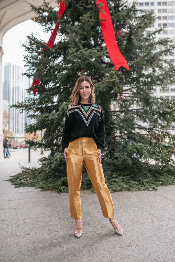 Seattle Fashion Blogger wearing Clean Peg Satin Trousers and Sequin Yoke Fair Isle Sweater