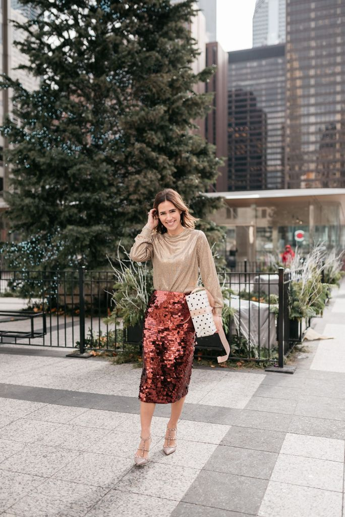 Blogger Sportsanista wearing Who What Wear Long Sleeve Metallic Pullover and Valentino Rockstud T-strap pumps