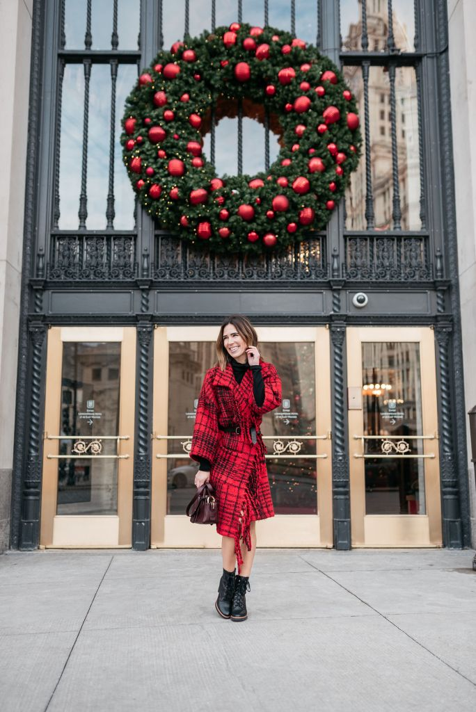 Blogger Mary Krosnjar wearing Treasure and Bond Plaid Fringe Cardigan and Naturalizer Combat Boots