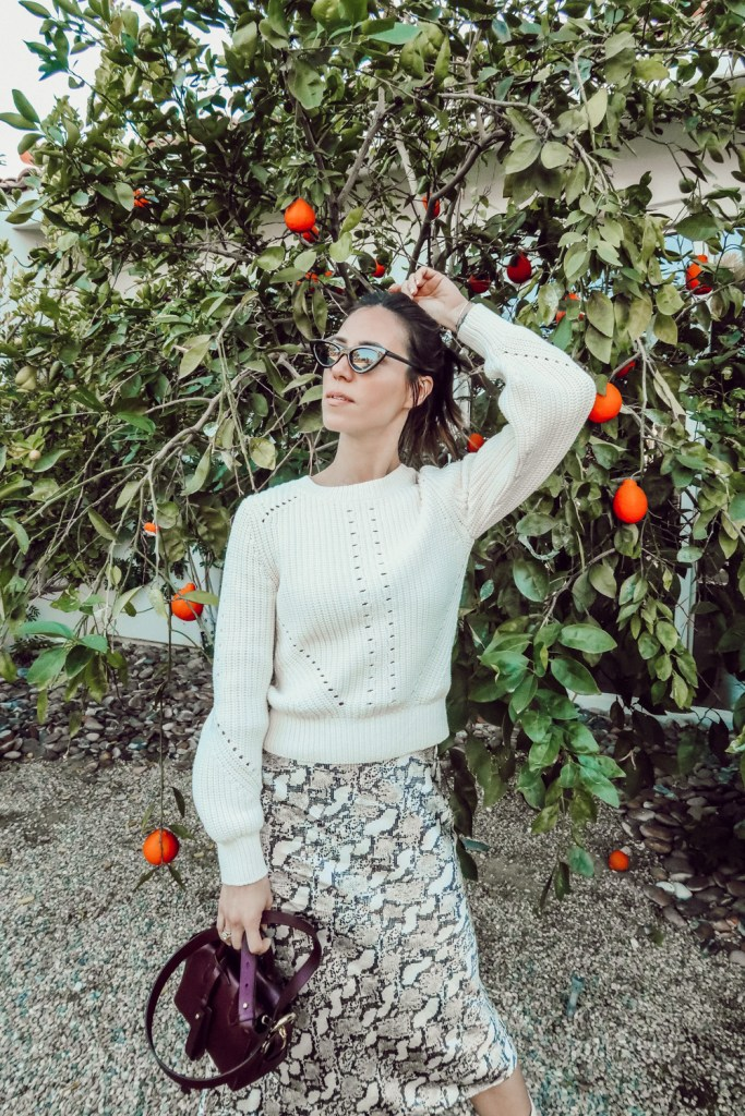 Blogger Sportsanista wearing Women's LC Lauren Conrad Fuzzy Balloon-Sleeve Sweater and Amazon Cat Eye Sunglasses