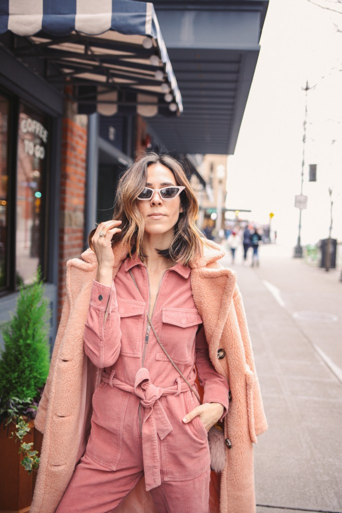 Blogger Sportsanista wearing Mini Cat Eye Sunglasses and Nordstrom Topshop Corduroy Boilersuit