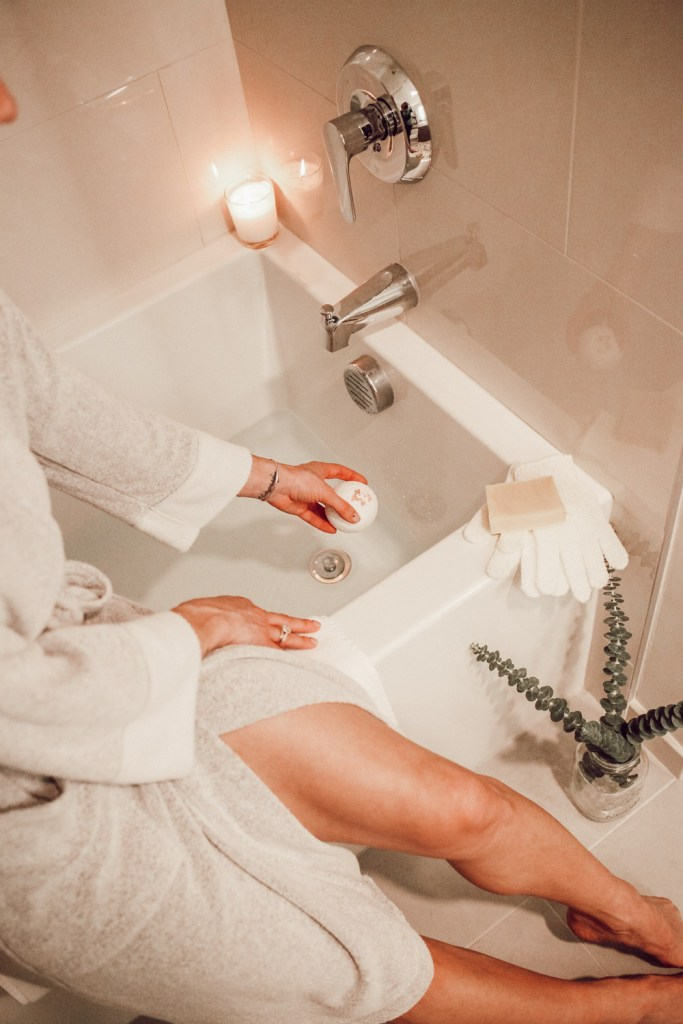 Blogger Sportsanista wearing Natori Nirvana Robe Women and Earth Luxe Eucalyptus Bath Bomb