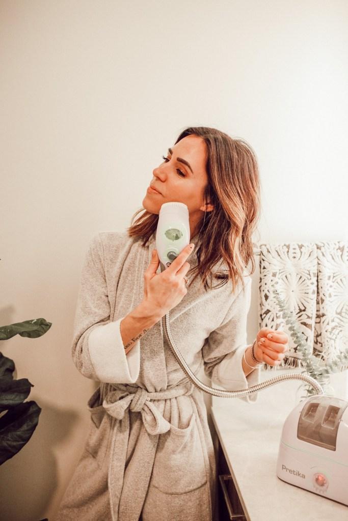 Blogger Sportsanista using Pretika ST175 Oxysonic Facial Brush and Natori Nirvana Robe Women