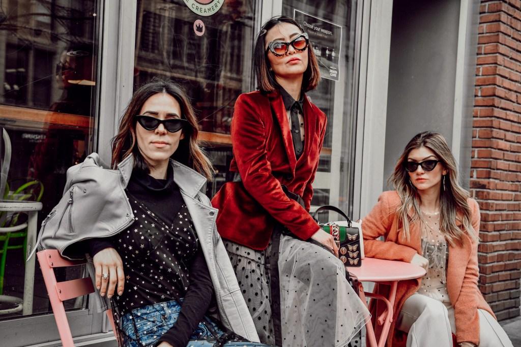 Blogger Sportsanista wearing Chelsea28 Glitter Star Sheer Full Slip and Amazon Cat Eye Sunglasses