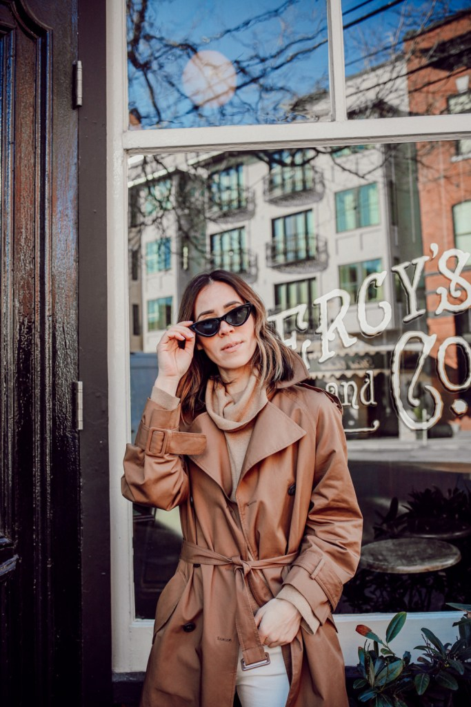 Seattle Fashion Blogger wearing Black Cat Eye Sunglasses and $35 Trenchcoat