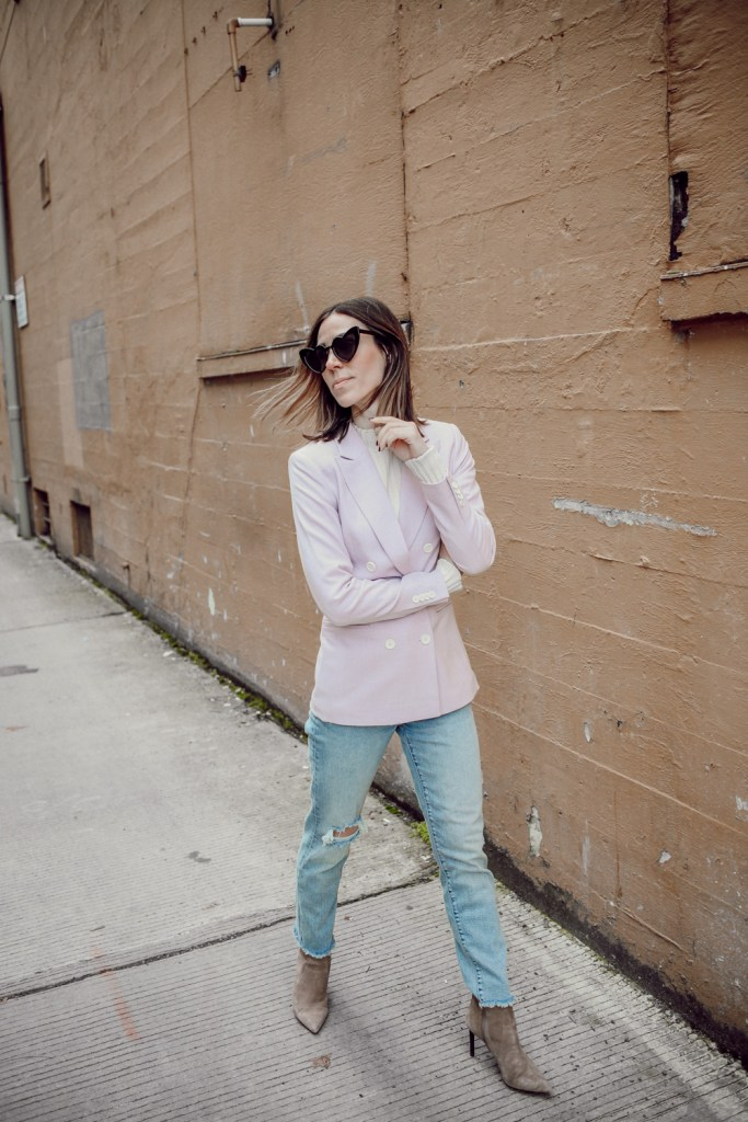 Seattle Fashion Blogger Sportsanista wearing H&M Double Breasted Coat and Heart Shaped Sunglasses