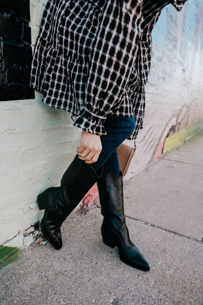 Seattle Fashion Blogger wearing Zara Western Boots with J Brand High Rise Maria Skinny Jeans in Bluebird