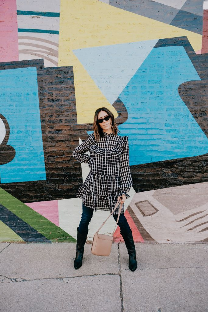 Seattle Fashion Blogger H&M Wide-cut Flounced Tunic and J Brand High Rise Maria Skinny Jeans in Bluebird