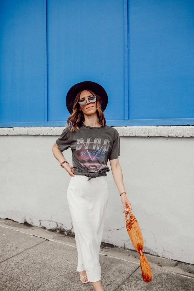 Seattle Fashion Blogger wearing Anine Bing BING BOLT TEE and Topshop Split Side Bias Midi Skirt