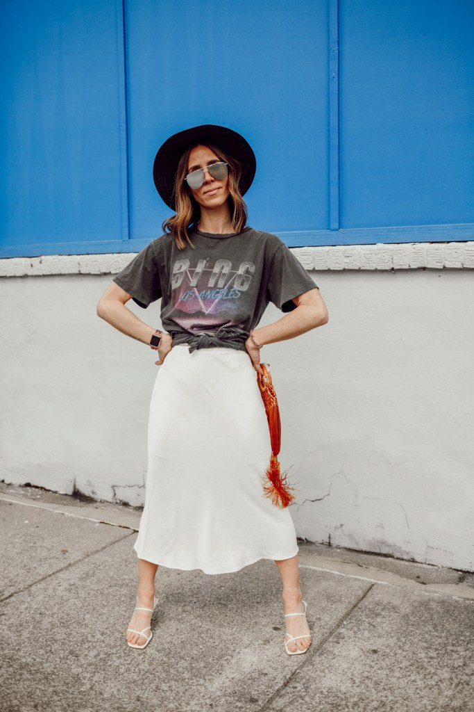 Seattle Fashion Blogger Sportsanista wearing Anine Bing BING BOLT TEE and Topshop Split Side Bias Midi Skirt