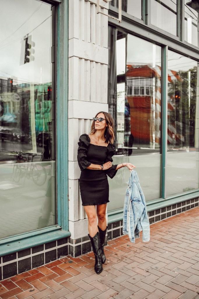 Seattle Fashion Blogger Sportsanista wearing SMOCK PUFF SLEEVE BODY-CON MINIDRESS and Schutz Western Boots