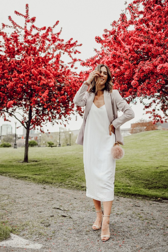 Seattle Fashion Blogger Sportsanista wearing white slip dress