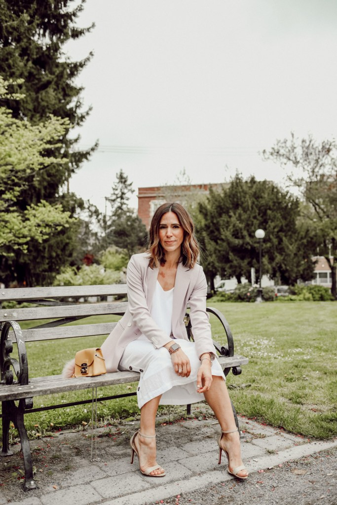 Seattle Fashion Blogger wearing Everlane The Japanese GoWeave Long Slip Dress and Mango Double-breasted blazer